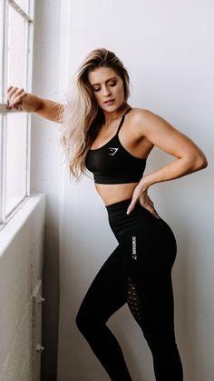 Gymshark athlete, Whitney Simmons styles the Energy Seamless High Waisted Leggings and Sports Bra in black, launching 3pm GMT on 1st January. #activewearfashion #FEMALEFITNESSMODELS