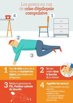 Dans cette infographie, retrouvez les gestes à faire en cas de crise d'épilepsie convulsive. Télécharger l'infographie en .pdf