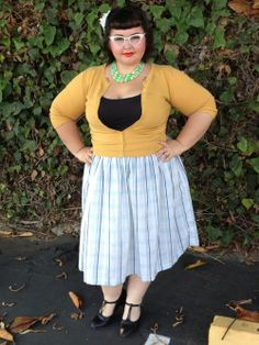 """""""Fat Girl, Vintage Style."""" Thats what this said... like really? She is not fat. If we're talking vintage, women WEREN'T a size 00 back then, and they were PROUD of it!"""