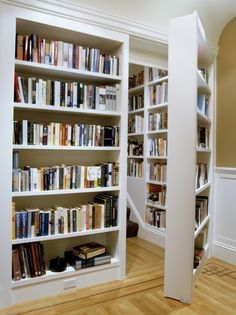 Hidden Stairs behind book cases, great use of space.