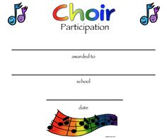 A rainbow hued certificate of participation in choir with music beths music notes chorus certificates awards yadclub Choice Image