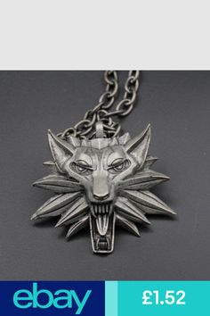 Video Game Merchandise The Witcher 3 Iii Wild Hunt Wolf Medallion Pendant Cosplay Accessories Black Red Collar Chain, The Witcher 3, Wild Hunt, Head Shapes, Chains For Men, Punk Fashion, Wolf, Jewelry Accessories, Lion Sculpture