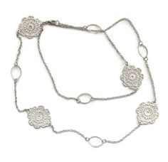 Long Filigree Medallion Necklace in Silver Tone Flapper Style