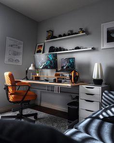 Working From Home Office Clean Desktop Setup – Game Room İdeas 2020 Home Office Setup, Office Workspace, Home Office Design, Modern House Design, Gaming Room Setup, Desk Setup, Home Furniture, Furniture Design, Bedroom Setup