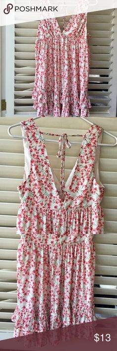 Floral Print Dress New with tag. Deep V. Empire waist. Ruffles at bottom. Ties behind neck. Size Small. Tiny red rose print🌹😍 Adorable.👌🏼 Forever 21 Dresses Mini