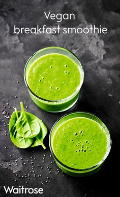 Start the day right with our super green vegan breakfast smoothie. Packed with avocado, banana, grapes, spinach and chia seeds it's sure to leave you feeling fresh. See the full recipe on the Waitrose website.