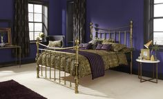 The Godiva bed frame in a antique brass finish, makes a fabulous addition to any bedroom. Luxury Bed Frames, Leather Bed Frame, Brass Bed, Brass Metal, Super King Size Bed, Bed Images, Antique Beds, Beds For Sale, Metal Beds