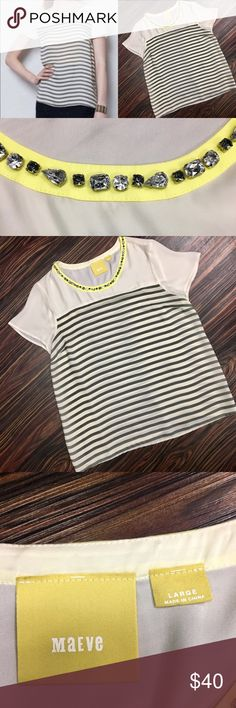 Maeve for Anthropolgie top Beautiful gray and cream striped top with chartreuse jeweled neckline. Maeve  Tops Blouses