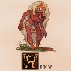 """Name: Rangda Area of Origin: Bali With a name meaning """"Widow"""" in old Javanese, The Rangda is a personification of evil in Balinese mythology and culture, and is the demonic queen of the Leyaks. The Leyaks are very similar to the Malaysian. Japanese Mythical Creatures, Alien Creatures, Mythological Creatures, Fantasy Creatures, Mythological Monsters, Monster Design, Monster Art, Myths & Monsters, Sea Monsters"""