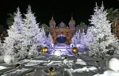 Monaco: Snow white trees decorate the front of the Monte Carlo Casino in Monaco for Christmas and New Year's on Dec. 11, 2013. (AP Photo/Lionel Cironneau)