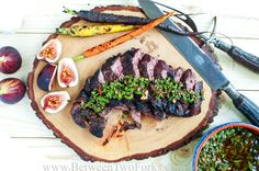 This Grilled Steak with Smoky Chimichurri and figs is a perfect combination of sweet, savory, spicy, tangy and bitterness. Learn to grill the perfect steak in this recipe!