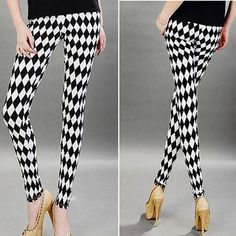 COCKCON Autumn Winter Women Sexy Slim Skinny Pencil Pants Striped Print Leggings Jeggings Multi Patterns Stretch Trousers H2