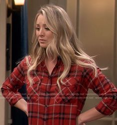 Penny's red plaid shirt on The Big Bang Theory.  Outfit Details: https://wornontv.net/68902/ #TheBigBangTheory