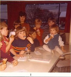 As kids, we got to have our birthdays at the restaurant and everyone got to make their own cones and sundaes. This was a party for my brother. That's me sitting on the counter among all his friends. Counter, Brother, Birthdays, Wrestling, Restaurant, Friends, Party, How To Make, Kids