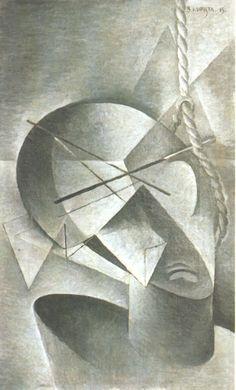 Bohumil  Kubišta, Hanged Man,1915, 50 x 30.5 cm, Moravská galerie v Brně