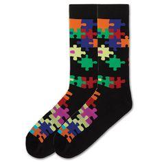 Men's Jigsaw Puzzle Crew Socks by K. Bell