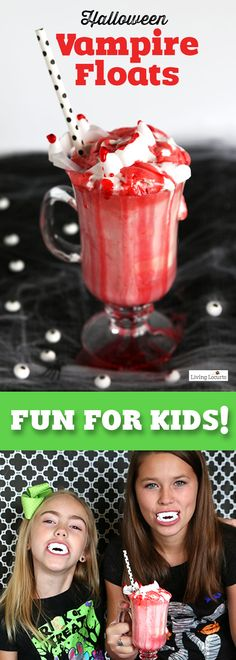 Halloween Vampire Ice Cream Floats! An easy Halloween recipe idea for kids. This is a perfect treat for a Halloween party. Click to watch a cute video for how to make these!