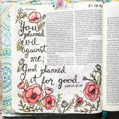 """My word for this year is """"courageous"""" and I decided to test it out last night since I never freehand anything when I'm working in my Bible...I may be a little OCD lol.  I reached the end of January last night and was so amazed that I was able to successfully spend time in my Bible everyday for the whole month! For some this may be an easy task but before art journaling I hardly ever spent time in my Bible. I can feel my relationship with God becoming so much more intimate everyday as I…"""