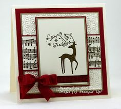 handmade Christmas card from The Stampin' Schach ... rainder focal image ... perfect satin bow ... snowflake embossing folder background ... band of sheet music ... great card! ... Stampin' Up!