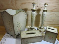 Set of Vintage Shabby Chic Bathroom Decor * Wood Waste Basket * Wood Tissue Box Covers * Wood Candle Holders by RainbowConnection15 on Etsy