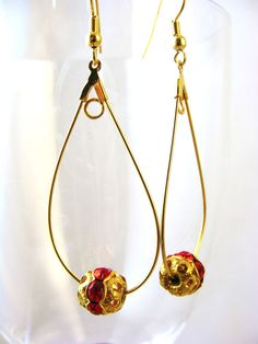 Dangle Hook Red Glass Beads Golden-Tone Filigree Hook Earrings Free Shipping New #BullockandDorchesterCollection #DropDangle