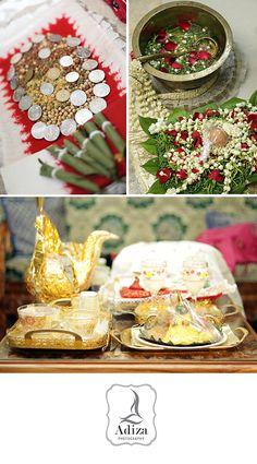 Panggih apparel. They are Sirih, rose petals, jasmine, coins, peanuts, egg, coconut, tumpeng. Panggih mean meet in javanese language.
