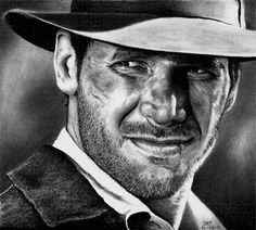Harrison Ford as Indiana Jones by Rick Fortson | graphite pencil