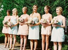 pale pink and blue bridesmaid dresses | CHECK OUT MORE IDEAS AT WEDDINGPINS.NET | #bridesmaids