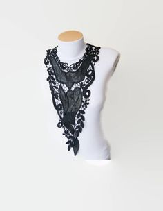 NECKLACE Lace Jewelry Black  tribal by ArtofAccessory on Etsy, $48.00