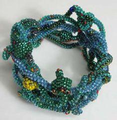 JOYCE J. SCOTT BRACELET Peyote-stitched glass beads, thread, wire