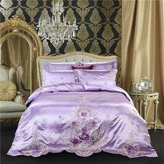 Silk Bed Sheets, Silk Bedding, Duvet Bedding Sets, Luxury Bedding Sets, Comforters, Glam Bedroom, Bedroom Decor, Pink Grey, Gray