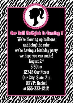 Vintage Doll Barbie Inspired Invitation - Black and Pink Zebra invitation - Printable DIY