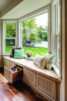 Bay window Millcreek Maple Linen Toffee Window Seat and Storage Bay Window Benches, Bay Window Decor, Bay Window Living Room, Bay Window Seating, Bay Window Kitchen, Bay Window Bedroom, Diy Bedroom, Small Space Interior Design, Interior Design Living Room