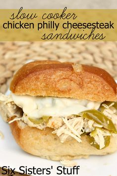 slow-cooker-chicken-philly-cheesesteak-sandwiches My thoughts: these were very good, I'm a huge fan of crockpot recipes. Crockpot Dishes, Crock Pot Slow Cooker, Crock Pot Cooking, Slow Cooker Chicken, Slow Cooker Recipes, Crockpot Recipes, Chicken Recipes, Cooking Recipes, Recipe Chicken