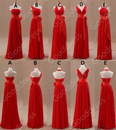 Long Bridesmaid Dress Red Dr