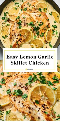 This Easy Lemon Garlic Chicken, comes together in less than 30 minutes, which makes it perfect for a busy weeknight when dinner needs to get on the table fast. The chicken simmers in a pan of lemon, garlic and cream… Continue Reading → Easy Dinner Recipes, Easy Meals, Dinner Ideas, Sugar Free Recipes Dinner, Salt Free Recipes, Romantic Dinner Recipes, Romantic Meals, Clean Eating Recipes For Dinner, Chicken Skillet Recipes