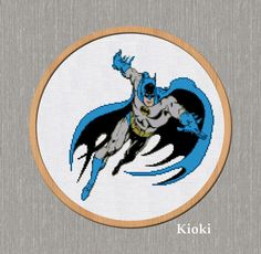 Batman Cross Stitch Pattern available for instant download via Etsy. The scheme is divided into 4 parts.