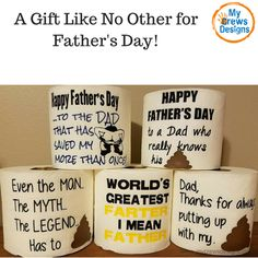 Father's Day gifts that won't disappoint. Our custom designed toilet paper gifts will be the talk of the town. Surprise dad with a one of kind gift for Father's Day! Custom Sayings available- just leave a note at checkout. *Price includes one roll Like us on Facebook: www.facebook.com/mycrewsdesigns.comFollow us on Instagram: @mycrewsdesigns