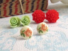 3 Pairs. Spring flowers. Red Dahlia Olive Green Rose by AnnMichy, $26.00
