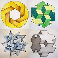 Polyhedra Optical Illusion Quilts, Illusion Drawings, Illusion Art, Art Optical, Optical Illusions, Zentangle, Geometric Shapes Art, Isometric Drawing, 3d Art Drawing