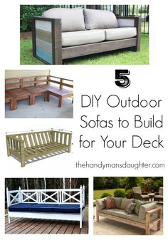 The price of outdoor furniture is shocking, but building your own is simple! Here are 5 DIY outdoor sofa ideas you can customize to fit your deck or patio. From DIY outdoor sectional plans to a simple…More Outdoor Furniture Plans, Deck Furniture, Pallet Furniture, Furniture Ideas, Antique Furniture, Modern Furniture, Cheap Furniture, Luxury Furniture, Furniture Dolly