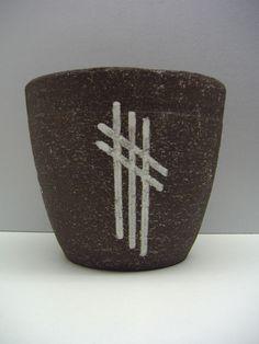 """Westraven Holland planter in brown chamotte 7.3"""" dutch mid-century ceramics"""