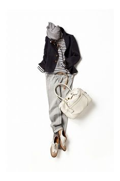 black and white striped shirt, navy blazer, grey scarf and sweatpants (or just jeans? Mode Outfits, Casual Outfits, Fashion Outfits, Womens Fashion, Looks Style, Style Me, How To Have Style, Casual Chique, Mode Simple