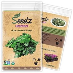 CERTIFIED ORGANIC SEEDS Apr 550  Organic Siberian Kale Seeds  Heirloom Seeds  Kale Vegetable Seeds  Non GMO Non Hybrid  USA -- Click image to review more details.