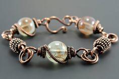 Copper Wire Wrapped Bracelet Steampunk by EndeavorsJewelry on Etsy Wire Wrapped Bracelet, Copper Bracelet, Gemstone Bracelets, Metal Bracelets, Wire Jewelry, Jewelry Crafts, Beaded Jewelry, Ethnic Jewelry, Bohemian Jewelry