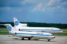 Pan Am Boeing tri-jet duo: (foreground) and Lockheed TriStar (background) Pan Am, Boeing 727 200, National Airlines, Air Traffic Control, Boeing Aircraft, Air Photo, Aviation Industry, Airplane Travel, Commercial Aircraft