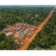 Illegal logging in Brazil  photo by George Steinmetz via Instagram  On a helicopter fight with IBAMA (the Brazilian forestry police) last March we came across this illegal logging operation in Mato Grosso. We landed in the clearing to check on the legality of their logging permit which they didnt have in hand. I was told by two sources that all logging at this time of year (the wet season) is illegal and farm owners are allowed to clear only 20% of the Amazon forest tropical biome that is on…