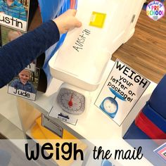 Weigh the mail at the post office in dramatic play! How to set up a Post Office in the dramatic play or pretend center. Perfect for a preschool, pre-k, or kindergarten classroom.