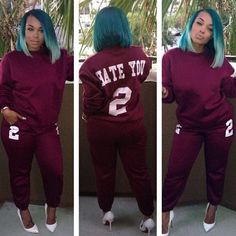 """Founder Heather Sanders lets us know exactly how she feels about Saturdays in our """"Hate You 2"""" sweatsuit  SoSorella.com"""