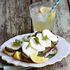 Bruschetta with basil pesto, Fior Di Late and Lemon